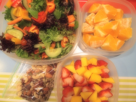 healthy raw lunch and snacks